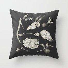 Bones and Botanical Sketches Throw Pillow