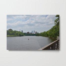 Mississippi River and Minneapolis Skyline Metal Print