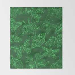 Butterfly Pattern Green Throw Blanket