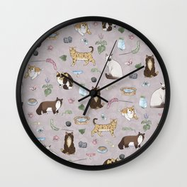 Cute Realistic Cats Design- Brown & White Kitty Pattern 1 Wall Clock