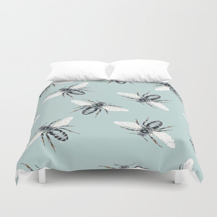 bees on blue Duvet Cover