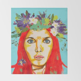 Red haired girl with flowers in her hair Throw Blanket
