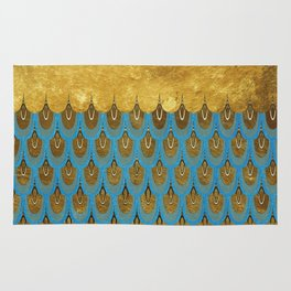 Blue and Gold Mermaid Scales Dreams Rug