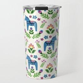 Swedsh Dala Horses Blue Travel Mug