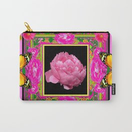 DECORATIVE ORNATE YELLOW BUTTERFLIES & PINK PEONY FLORAL VIGNETTE Carry-All Pouch