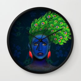 peacock girl Wall Clock