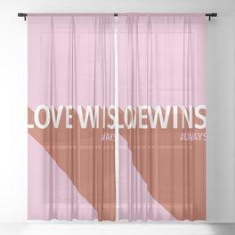 Love Wins Pink Sheer Curtain