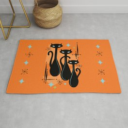 Effervescent Orange Atomic Age Black Kitschy Cat Trio Rug