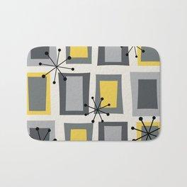 Mid Century Modern Art 'Wonky Doors' Yellow Gray Bath Mat