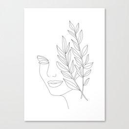 Minimal Line Art Woman Face Canvas Print