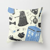 doctor Throw Pillows featuring Artifacts: Doctor Who by Josh Ln