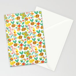 Cute Bumblebee Ladybug Butterfly Garden Pattern Stationery Cards