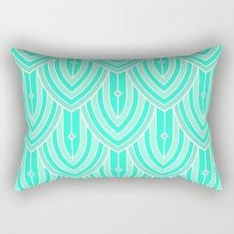 Deco Peacock - Teal Rectangular Pillow