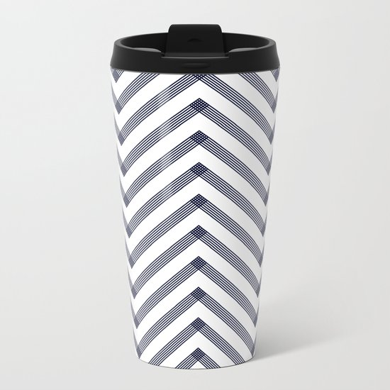 Marine Chevron Zigag pattern - dark blue on white on #Society6 Metal Travel Mug