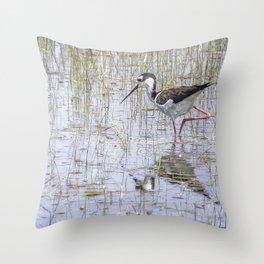 Black-necked Stilt, No. 2 painterly Throw Pillow