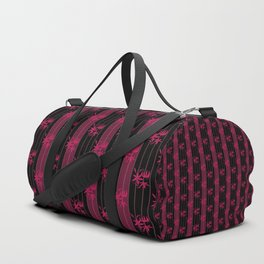 Striped floral maroon and black pattern with lillies Duffle Bag