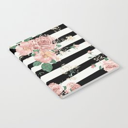 VINTAGE FLORAL ROSES BLACK AND WHITE STRIPES Notebook