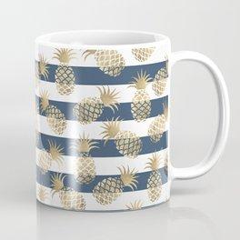 Modern nautical navy blue stripes faux gold pineapple Coffee Mug