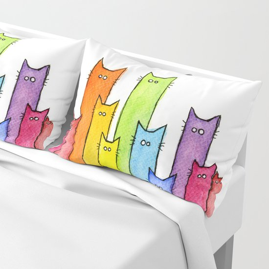 Cat Rainbow Watercolor Pattern by olechka