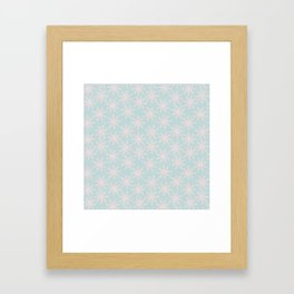 Merry christmas - Knit pink snowflakes and snow on aqua background Framed Art Print