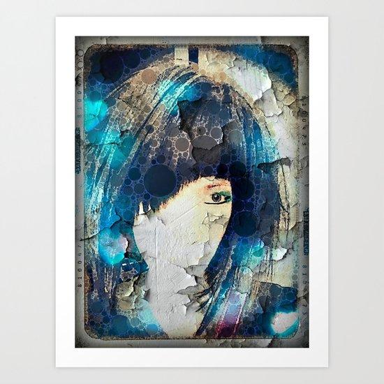 I'm with Wig Blue Art Print