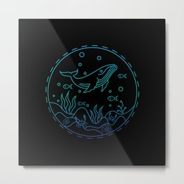 blue whale at the bottom of the sea Metal Print