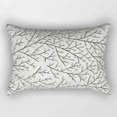Berry Branches – Silver & Black Rectangular Pillow