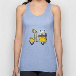 cat on a scooter Unisex Tank Top