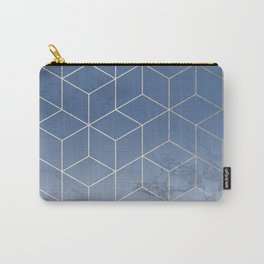 Silver Navy Blue Geometric Block Cubes Modern Pattern Trendy White Marble Carry-All Pouch