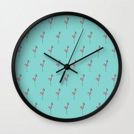 Flamingo Monogram- Teal Wall Clock