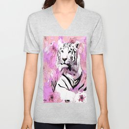 TIGER WHITE WITH CHERRY BLOSSOMS PINK Unisex V-Neck