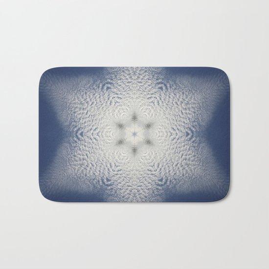 Snowflake of clouds kaleidoscope Bath Mat