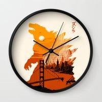 godzilla Wall Clocks featuring Godzilla  by tim weakland