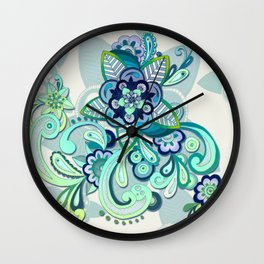 Minty Green, Purple and Navy Organic Doodle Wall Clock