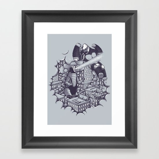 Lucha Kaiju Framed Art Print