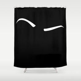 Raised Eyebrow - White on Black Shower Curtain