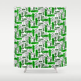 Gamer Lingo-White and Green Shower Curtain