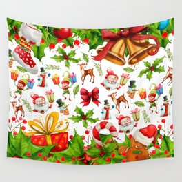 Holiday festive red green holly Christmas pattern Wall Tapestry
