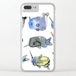 Nine Nifty Narwhals Watercolor Clear iPhone Case