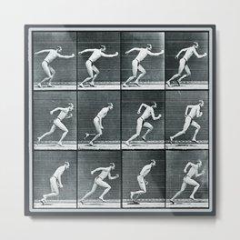 Time Lapse Motion Study Man Running Monochrome Metal Print