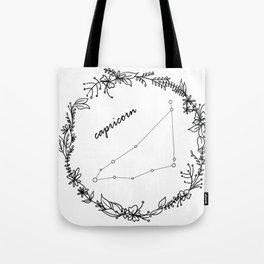 Floral Capricorn Constellation Tote Bag