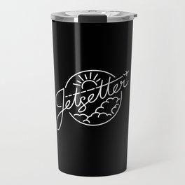 Jetsetter - White ink on black Travel Mug
