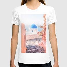 Santorini Greece Pink Old Street Travel photography T-shirt