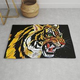 Tiger Stalking Prey Oil Painting Rug