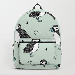 Cute Icelandic Puffin birds mint pattern Backpack