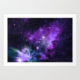 Purple Teal Green Carina Nebula Art Print