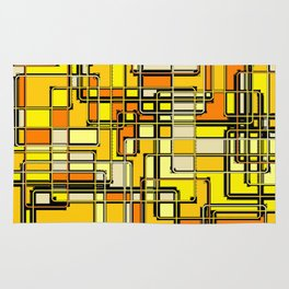 Vintage Yellow Print Rug