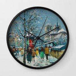 Notre-Dame et les Quais, Winter, Paris by Antoine Blanchard Wall Clock