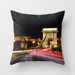 Traffic on Szechenyi Chain bridge Throw Pillow