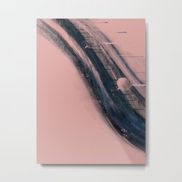 Light as a Feather: a minimal abstract piece in pink and blue by Alyssa Hamilton Art Metal Print